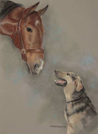 Pastel Portrait of Dog and Horse