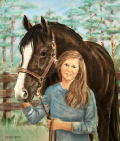 Pastel Portrait of girl and horse