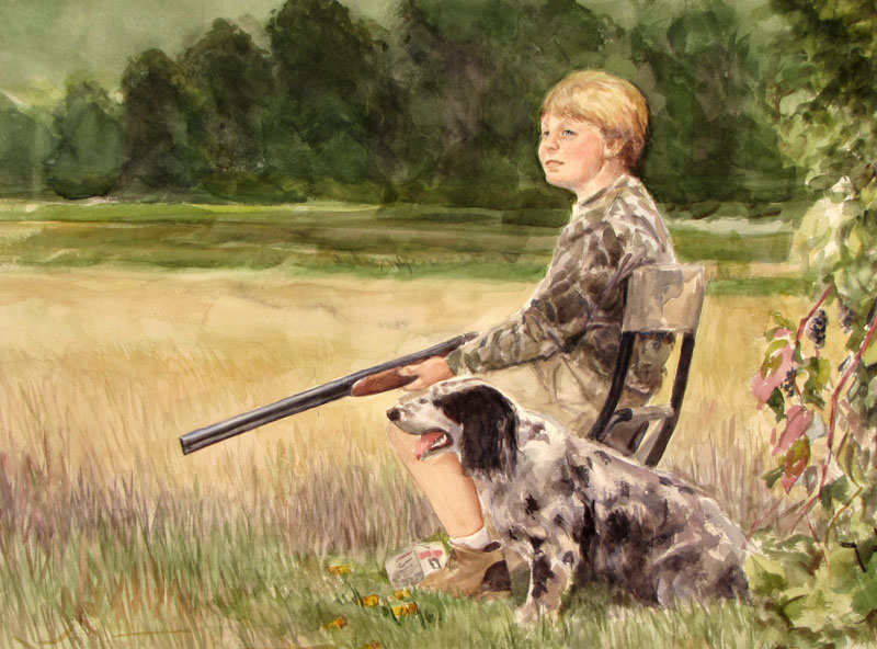 Watercolor Portrait boy and dog